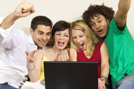 domestic life: group of friends having fun Stock Photo
