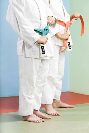combative: two young boys preparing to perform judo Stock Photo