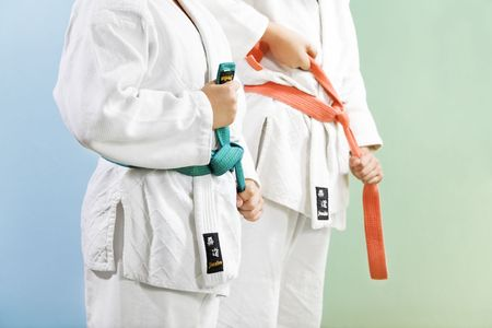 combative sport: two young boys preparing to perform judo Stock Photo