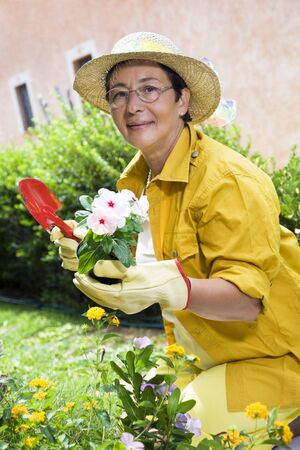 Portrait of senior Italian woman planting flowers in garden, looking at camera Stock Photo - 3434633