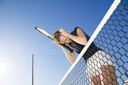 loser: woman playing tennis lost the game. Copy space