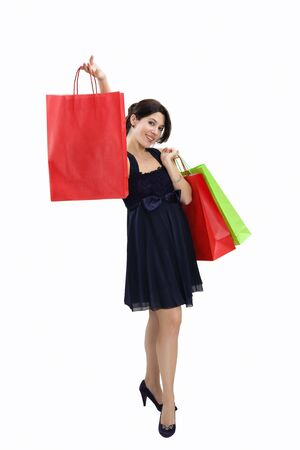 Mid adult Italian woman holding red shopping bag on white background Stock Photo - 3975257