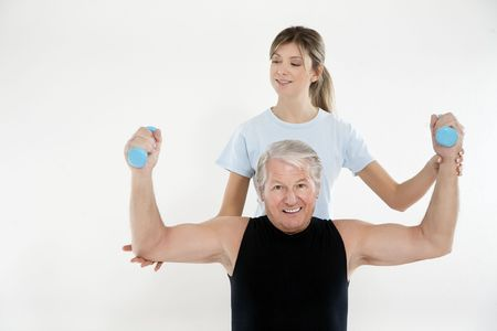 senior man exercising in gym. Copy space Stock Photo - 4049171