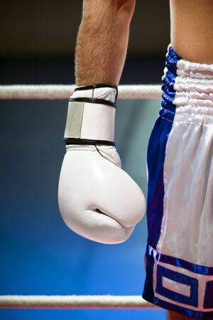 bout: recortada visi�n del hombre con guantes de boxeo. Copia espacio Foto de archivo