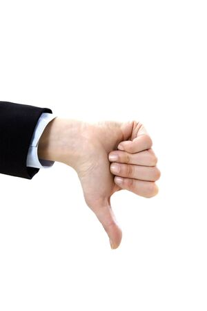 THUMBS DOWN: businesswoman showing thumbs down on white background