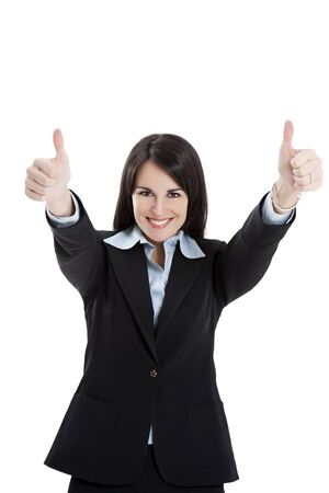 businesswoman showing thumbs up on white background photo