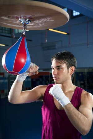 punching bag: young adult man hitting speed bag in gym. Copy space Stock Photo