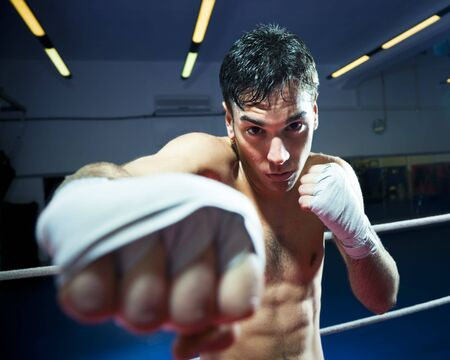young adult man: young adult man boxing in gym. Copy space