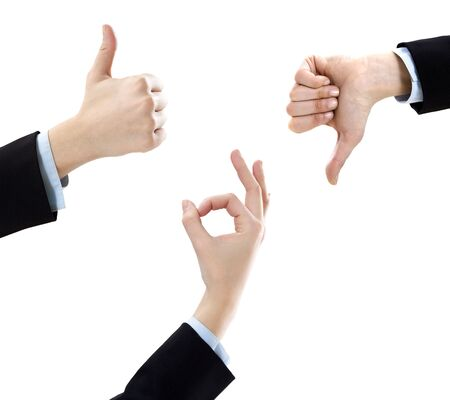 thumbs up gesture: businesswoman showing ok sign, thumbs up and down on white background