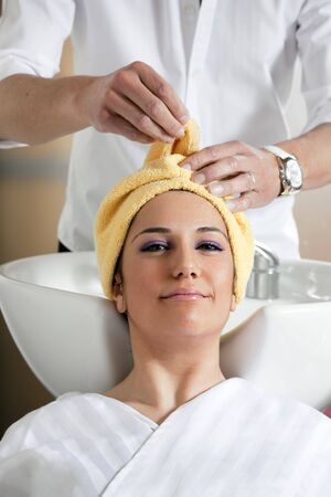 hair salon: portrait of young woman in hair salon Stock Photo