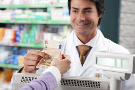 cropped view of woman shopping in pharmacy. Copy space photo