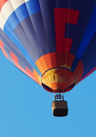 hot air balloon moving up. Copy space photo