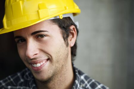 Construction worker looking at camera. Copy space Stock Photo - 5908910
