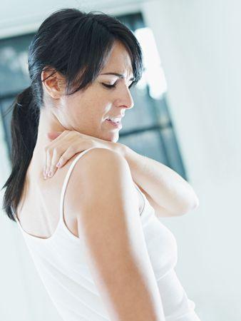 douleur main: Col de massage de femme. Vue lat�rale, espace de copie  Banque d'images