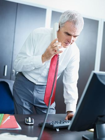 portrait of mature business man talking on the phone, looking at computer screen. Stock Photo - 6341013