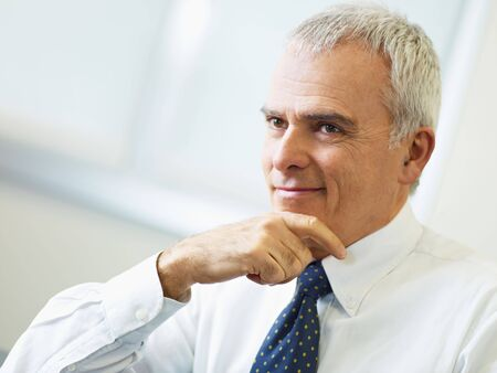 middle aged men: portrait of mature business man with hand on chin, looking away. Copy space