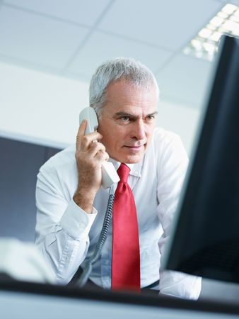 portrait of mature business man talking on the phone, looking at computer screen. photo