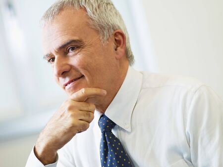 hand chin: portrait of mature business man with hand on chin, looking away. Copy space