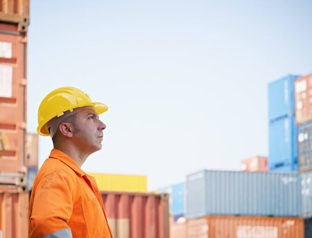 portrait of mid adult worker looking at cargo containers. Horizontal shape, side view, copy space