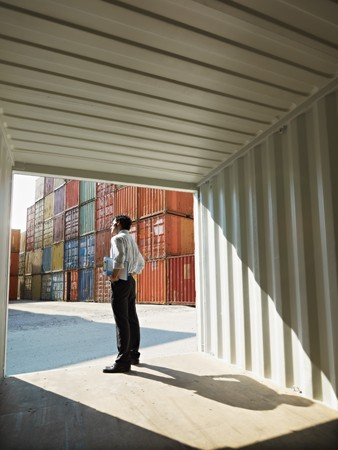 containers: portrait of mid adult businessman standing near cargo container. Vertical shape, side view, copy space