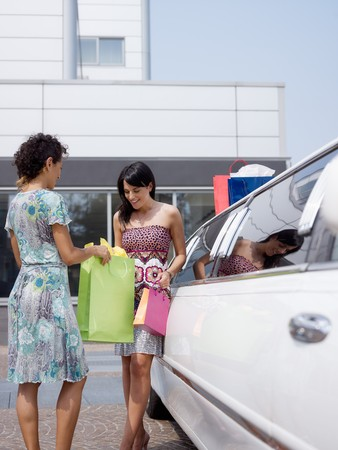 two women standing by limousine and looking at shopping bags. Vertical shape, copy space photo
