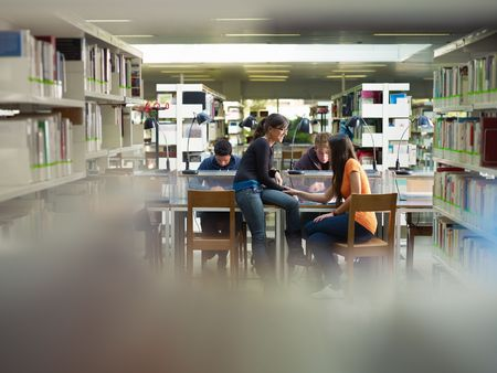 group study: group of college students studying in library, two girls talking together. Horizontal shape, front view, full length, copy space Stock Photo