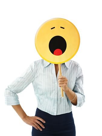 laziness: adult business woman holding emoticon, yawning on white background. Vertical shape, waist up Stock Photo