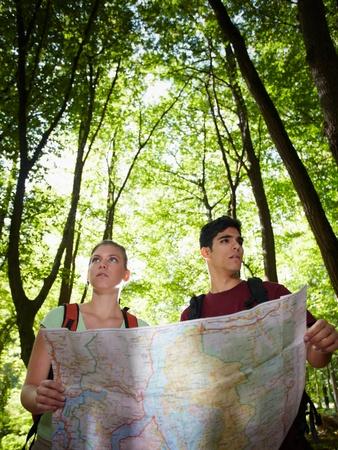 arbol de problemas: hombre y una mujer se perdi� durante la excursi�n de senderismo y buscar destino en el mapa. Forma vertical, hasta la cintura Foto de archivo