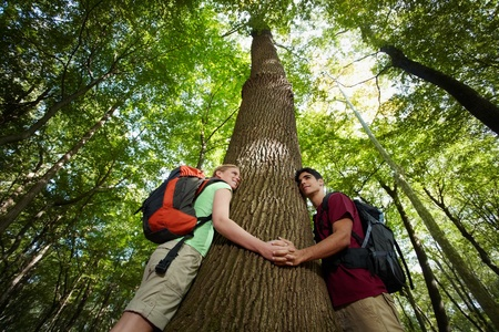 waist up: young man and woman during hiking excursion, hugging tree and holding hands. Horizontal shape, low angle view, waist up Stock Photo