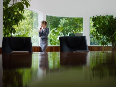 tailleur: Beautiful caucasian female manager looking out of the window in office. Side view, copy space Stock Photo