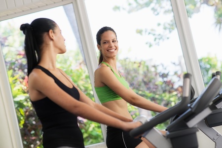 cardio fitness: Young women talking and laughing while working out on exercise  bicycles in wellness club
