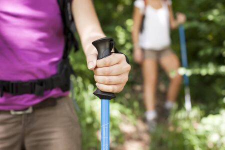 young female friends walking in woods. Closeup of hand holding stick photo