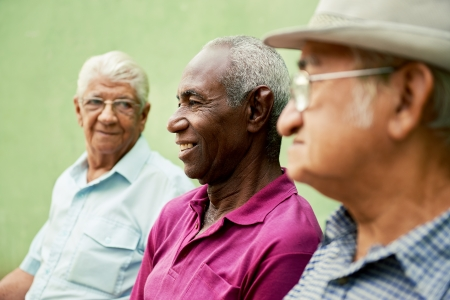 retirement: retired elderly people and free time, group of happy senior african american and caucasian male friends talking and sitting on bench in park Stock Photo