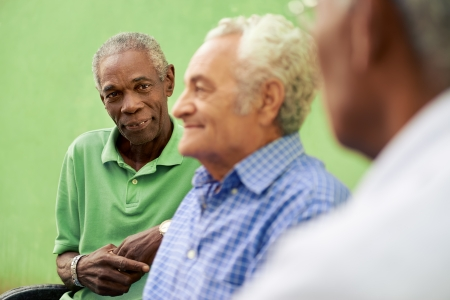 senior friends: retired elderly people and free time, group of happy senior african american and caucasian male friends talking and sitting on bench in park Stock Photo