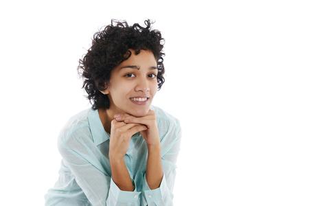Portrait of happy hispanic businesswoman smiling confident at camera on white background photo