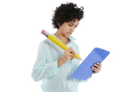 hispanic business woman taking notes with huge yellow pencil on white  photo