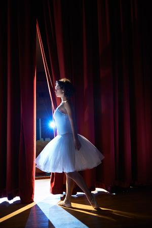ballet clásico: Artes y entretenimiento en el teatro con la bailarina clásica femenina en tutú, de pie detrás de las escenas y mirando a puestos