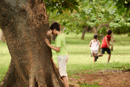 seek: young boys and girls playing hide and seek in park, with kid counting leaning on tree Stock Photo