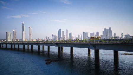 panama city: Tourist attractions and destination scenics. Panoramic view of Panama City skyline and highway