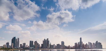 Tourist attractions and destination scenics. Panoramic view of Panama City skyline and sea