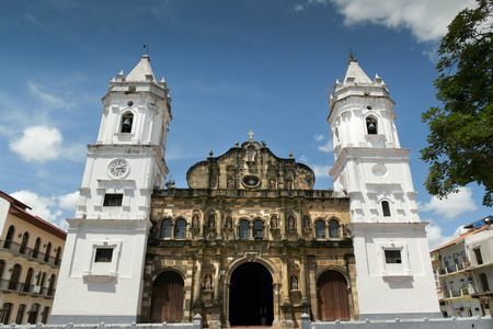 Panama City, Central America, View of Catholich Cathedral in Plaza Mayor, Casco Viejo