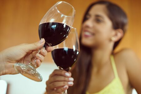 foreground focus: Two female friends at home, relaxing with a glass of red wine. The girls smile and celebrate making a toast. Focus on foreground