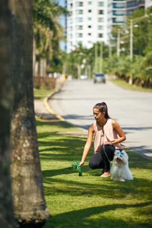 Mensen die werken als hond-sitter, meisje met Franse poedel hond in het park. De jonge Spaanse vrouw pakt de poep van haar huisdier met plastic zak