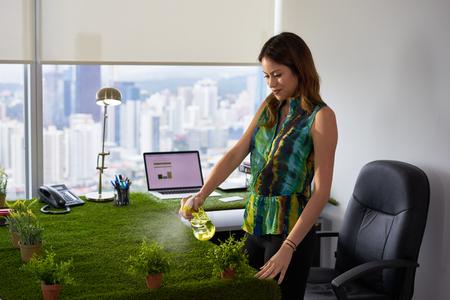 生態学および環境保護の概念: 草の覆われたテーブルが付いているオフィスで働く若い女性。彼女は植物と笑顔の上に水をスプレーします。