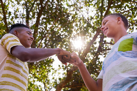 Youth culture, young people, group of male friends, multiethnic teens outdoors, teenagers together in park. Happy boys meeting, kids shaking hands, smiling. Concept of racism and integration of races