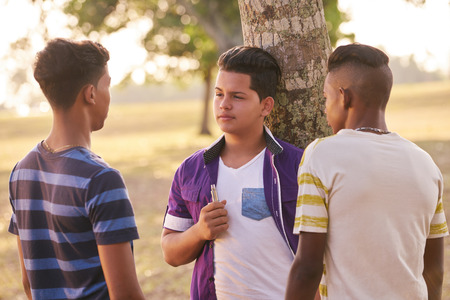 joven fumando: La cultura juvenil, los jóvenes, grupo de amigos varones adolescentes, multiétnicos al aire libre, los muchachos multirracial en el parque. Los niños de fumar los fumadores de cigarrillo electrónico, e-cig. Los problemas de salud, problemas sociales Foto de archivo