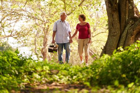 love pic: Old couple, elderly man and woman in park. Active retired seniors holding hands and walking in park with a picnic basket Stock Photo