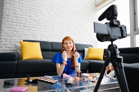 Young People Shooting Makeup Video For Vlog Video Blog