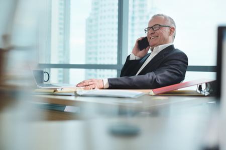 Geschäftsmann, der im Büro mit Computer arbeitet und am Telefon spricht