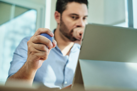 Adult Business Man Under Stress Pressure In Office Using Laptop